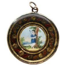 Late 1700s English Georgian Hand Painted Gold Pendant