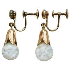 Mid-Century Opalite Floating Opals Drop Earrings