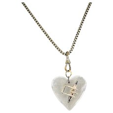 Vintage WW 2 Sweetheart Lucite Puffy Heart Pendant, 1940s