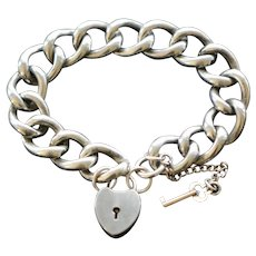 Victorian Sterling Curb Link Heart Padlock Bracelet