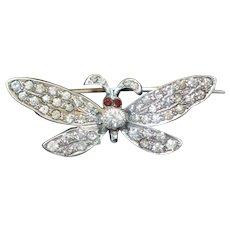 Art Deco Sterling Paste Butterfly Brooch