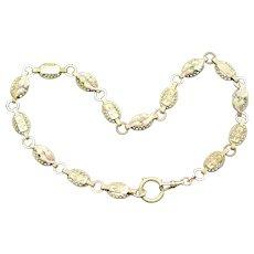 Victorian Tri-Gold Fill Collar Book Chain Necklace