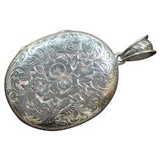 Victorian Sterling Large Engraved Oval Locket
