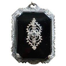 Art Deco Silver Plate Black Glass Pendant with Paste Stone