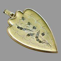 Victorian Large Heart Locket with Paste Stones