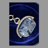 Victorian Gold Filled Blue/Gray Agate Swivel Fob Charm