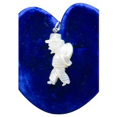 Victorian  Mother of Pearl Tiny Gentleman Fob/Pendant/Charm
