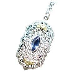 Art Deco Sterling and 14K Blue Czech Glass Filigree Pendant Necklace