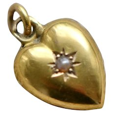 Victorian 15K Heart Pendant with Seed Pearl