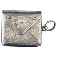 Edwardian Sterling Engraved Stamp Case Locket