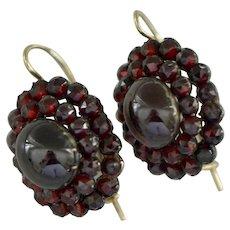 Victorian Bohemian Garnet Oval Dangle Earrings