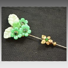 Vintage Miriam Haskell Green Molded Glass and Green Rhinestones Floral Stick Pin, 1950s Brooch, Flower Pin