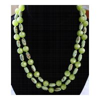 Flea-Market Green & Blue Double-Strand Necklace With Gorgeous Clasp