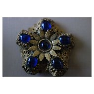 Gilded Filigree Cobalt Glass Cabochons Brooch