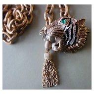 HATTIE CARNEGIE Tiger with Green Glass Eye  Necklace/Belt/Pendant (Book Piece)