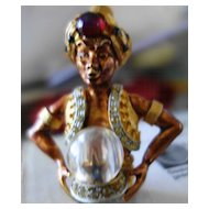 HAR Iconic Rhinestone Fortune Teller With Crystal Ball Brooch