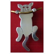 Mexican Sterling Silver Cat Pin With Copper Trim