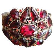 VICTORIAN Style Wide Garnet Red Rhinestone Bracelet