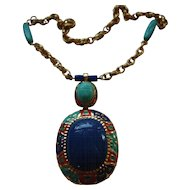 Egyptian Revival Gold Plate Enamel Acrylic Scarab Necklace
