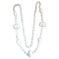 MAX NEIGER Egyptian Revival Uranium Glass Turban Heads & Elephant Beads Necklace