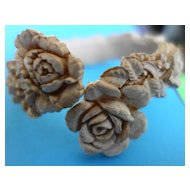 Carved Cabbage Rose Celluloid Bracelet