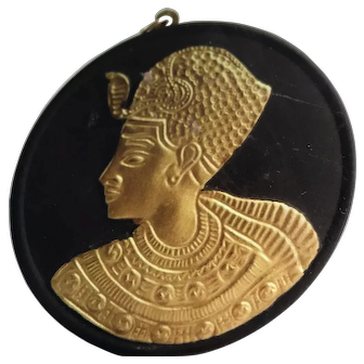 Black Wedgwood Tutankhamen Egyptian Revival Pendant