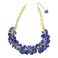 1940's Cobalt Blue Molded Glass Flower Charm Celluloid Chain Necklace