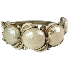 HAR Clamper Bracelet Antiqued Whitewash With Aurora Borealis Rhinestones