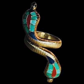 HATTIE CARNEGIE Egyptian Revival Cobra Snake Enamel Clamper Arm Cuff Bracelet