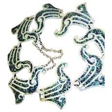 MARGOT DE TAXCO Mexico Sterling Blue Confetti Wave Link Enamel Bracelet