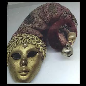 ARTIGIANALE VENEZIA Italy Jester Face Ceramic Fabric Pin/Brooch