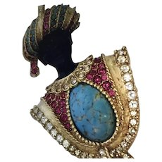 Sphinx Gold Plate Enamel Turquoise Ruby Rhinestone Blackamoor Brooch