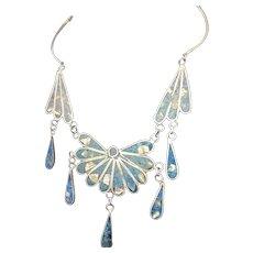 Mexican Alpaca Blue Inlay Silver Necklace