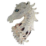 Bejeweled Horse Head Brooch/Pendant