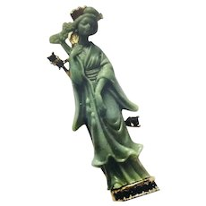 HATTIE CARNEGIE Carved Green Acrylic Rhinestone Chinese Lady Brooch