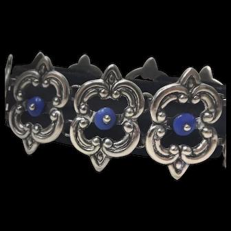 LOS CASTILLO Mexican Blue Agate Sterling Silver Bracelet