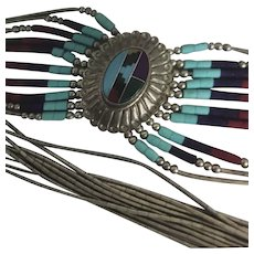 ZUNI Southwestern Inlaid Turquoise Pendant Liquid Silver Bead Necklace