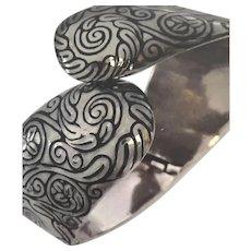 MARGOT DE TAXCO Sterling Silver Enamel Clamper Bracelet