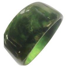 Wide Marbled Green Bakelite Bangle Bracelet