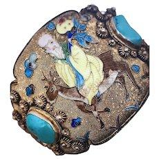 CHINESE Export Sterling Silver Filigree Enamel Turquoise God Deer Bracelet