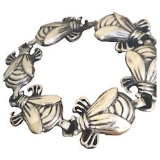 """SPRATLING for Silson (1940-1944) Taxco, Mexico Silver-Plated """"The Bug"""" Link Bracelet"""