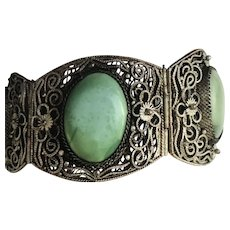 Antique Chinese Turquoise Cabochon Intricate Silver Plate Filigree Cuff Bracelet
