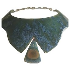 BIG BOLD VINTAGE Mid-Century Modernist Turquoise Enamel Copper Collar Necklace