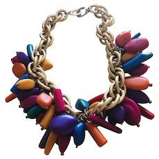 LES BERNARD Chunky Multi-Color Celluloid Bead Necklace Statement Piece