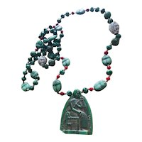 NEIGER Authentic Rare Egyptian Revival Pressed Glass Turban Head Necklace With Glass Scarabs and Pharaoh Pendant in Gold