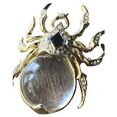 COROCRAFT Spider Figural Jelly Belly Rhinestone Brooch/ Pin