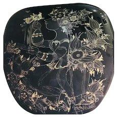 ROSENTHAL Bjorn Wiinblad Black Silver & Gold Ceramic Vase