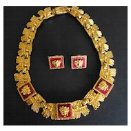 Mexican Gold-Plated Necklace & Earrings With Cabernet Ceramic Tiles