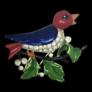 TRIFARI ALFRED PHILIPPE Robin Bird Rhinestones Figural Fur Clip/Brooch
