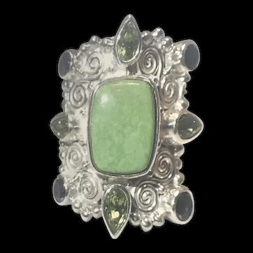 SAJEN  Sterling Silver Adjustable Shank Green Turquoise & Peridot Ring SZ 7